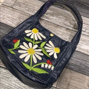 Vintage Bags by T.J. Blue Purse Flowers LadyBugs